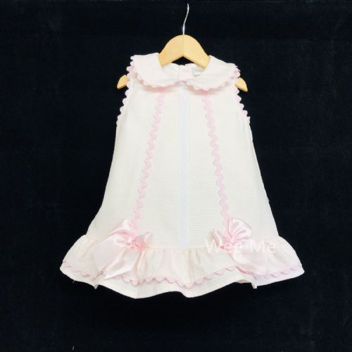 *SALE* Gorgeous Baby Girl Pink Spanish Bow Dress Ric Rac Details &Satin Bow